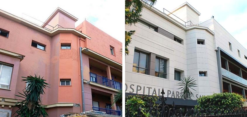Antes y después fachada ventilada Discesur