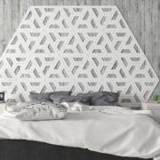 Dormitorio con cabezal de cerámica