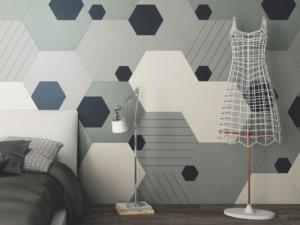 Dormitorio con cerámica hexagonal