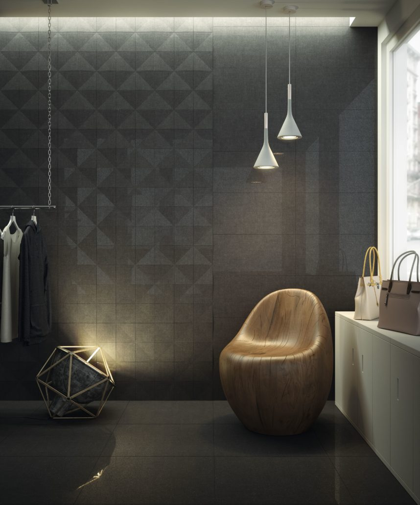 Estancia diseñada con cerámica oscura por Grespania.