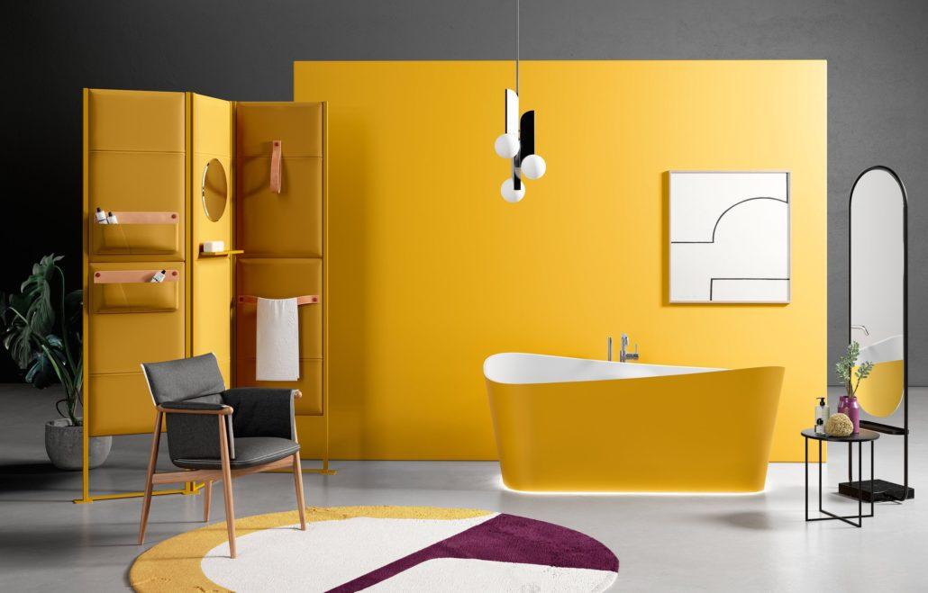 Diseño de bañera exenta de Novellini.
