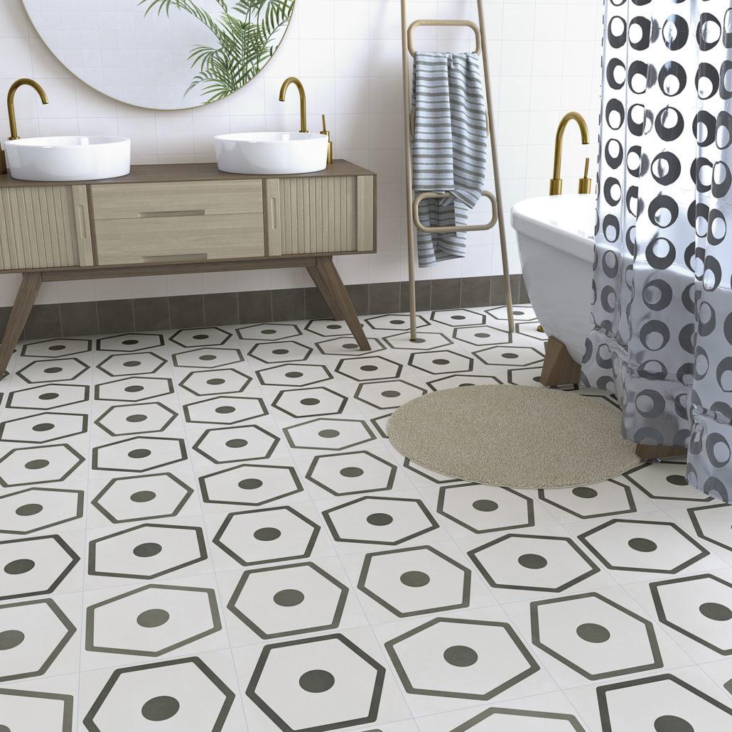 Suelo para el baño de pavimento Gres Porcelánico Efecto Hidráulico Pop Tile de Vives.